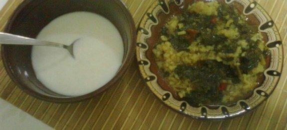 Лопуш с ориз в чиния и кисело мляко в купичка