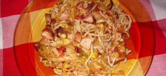 Запечени спагети в чиния