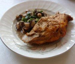 заешко месо с гъби със зелен лук