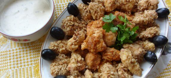 пилешки хапки с овесени ядки