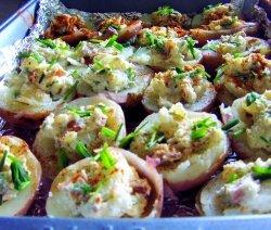 картофи, пълнени със скариди
